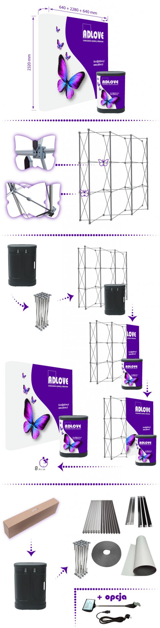 Ścianka Pop-Up SET 3x3 Prosta