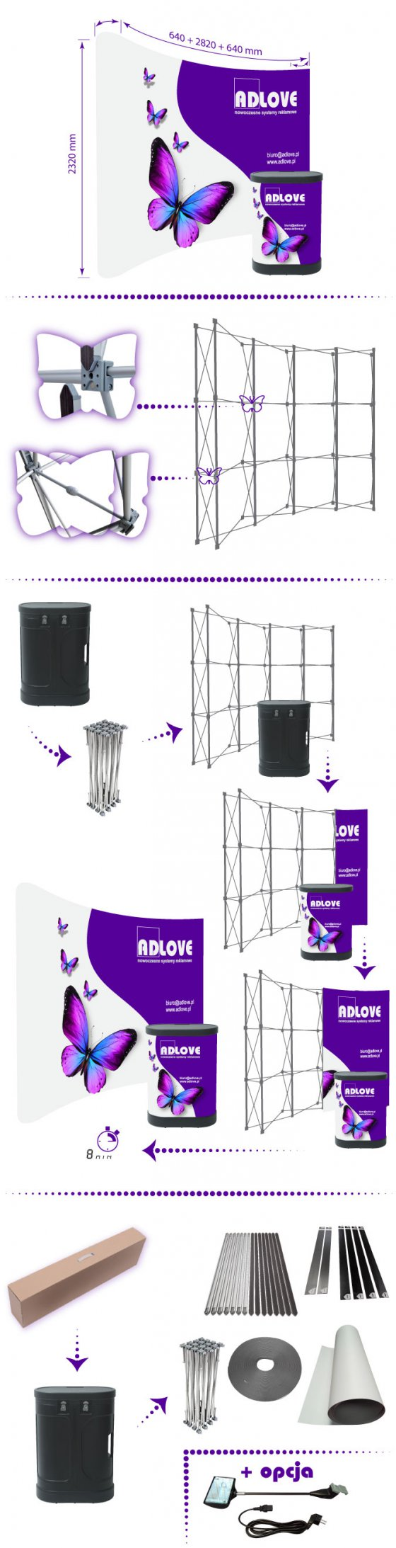 PopUp SET Wall 4x3 Curved