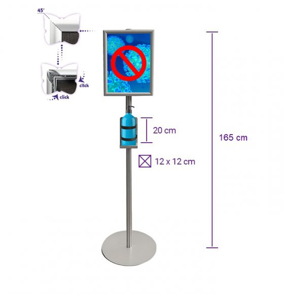Disinfecting Liquid Stand With A3 Snap Frame - 165mc