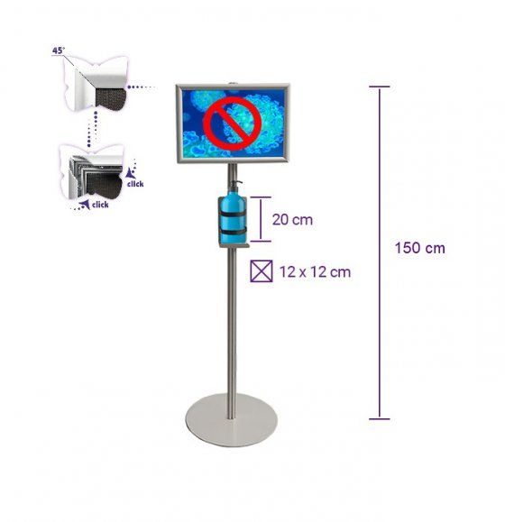 Disinfecting Liquid Stand With A3 Snap Frame - 150cm